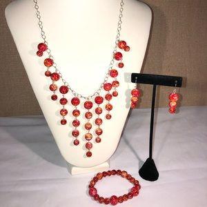 🆕Handmade Marble Red &Orange Necklace Earring Set